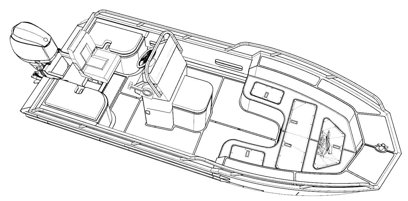 T-Craft AG 430 LE marine grade aluminium boat line drawing